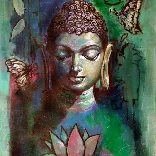 buddha, 18 x 24 inch, debdas maumder,buddha paintings,paintings for dining room,paintings for living room,paintings for office,canvas board,acrylic color,18x24inch,religious,peace,meditation,meditating,gautam,goutam,buddha,colorful,butterfly,lotus,GAL06552684