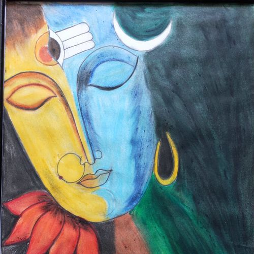 ardhanareeshwar, 12 x 16 inch, t sangeeta reddy,12x16inch,thick paper,paintings,religious paintings,lord shiva paintings,paintings for dining room,paintings for living room,paintings for bedroom,paintings for office,paintings for kids room,paintings for hotel,paintings for school,paintings for hospital,pastel color,paper,GAL01599926848