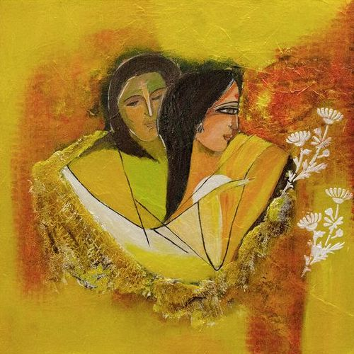 love; togetherness; bond; marriage, 18 x 18 inch, deepa  vihangam ,18x18inch,canvas,paintings,abstract paintings,figurative paintings,flower paintings,modern art paintings,conceptual paintings,abstract expressionism paintings,contemporary paintings,love paintings,paintings for dining room,paintings for living room,paintings for bedroom,paintings for office,paintings for hotel,acrylic color,mixed media,GAL01593426850