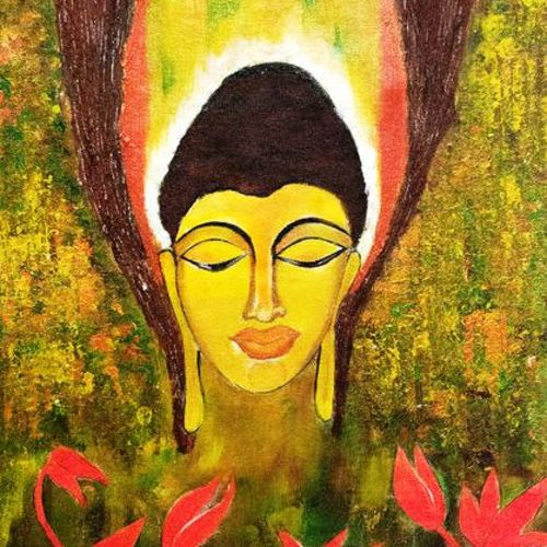 buddha with flourscent lotus; peace, 16 x 23 inch, deepa  vihangam ,16x23inch,canvas,paintings,abstract paintings,buddha paintings,flower paintings,folk art paintings,modern art paintings,conceptual paintings,religious paintings,contemporary paintings,paintings for dining room,paintings for living room,paintings for bedroom,paintings for office,paintings for hotel,paintings for kitchen,paintings for school,paintings for hospital,acrylic color,GAL01593426852