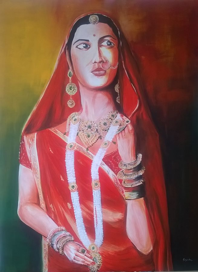jauhar, 36 x 48 inch, sayantan  ghati ,figurative paintings,paintings for living room,canvas,acrylic color,36x48inch,GAL07702686
