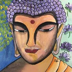 buddha, 9 x 9 inch, nidhi choudhari,9x9inch,cloth,paintings,abstract paintings,buddha paintings,paintings for living room,paintings for hotel,acrylic color,GAL01583526860