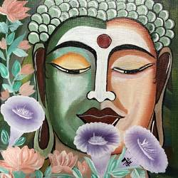 buddha, 9 x 9 inch, nidhi choudhari,9x9inch,cloth,paintings,abstract paintings,buddha paintings,paintings for living room,paintings for hotel,acrylic color,GAL01583526863