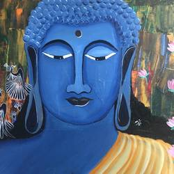 meditating buddha, 20 x 16 inch, nidhi choudhari,20x16inch,canvas,paintings,abstract paintings,buddha paintings,paintings for hotel,acrylic color,GAL01583526869
