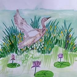just flying bird, 9 x 11 inch, mrs. kalyani lahon,nature paintings,paintings for living room,paper,poster color,9x11inch,GAL06572687Nature,environment,Beauty,scenery,greenery