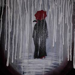 couple in the rain, 16 x 12 inch, nidhi choudhari,16x12inch,canvas,paintings,cityscape paintings,paintings for hotel,acrylic color,GAL01583526871