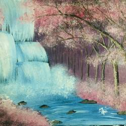 cherry blossom in waterfall , 12 x 10 inch, nidhi choudhari,12x10inch,canvas,paintings,landscape paintings,nature paintings | scenery paintings,surrealism paintings,paintings for hotel,acrylic color,GAL01583526872
