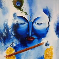 krishna playing flute, 12 x 16 inch, nishmitha  u r,12x16inch,canvas,religious paintings,radha krishna paintings,paintings for living room,paintings for living room,oil color,GAL01606926873