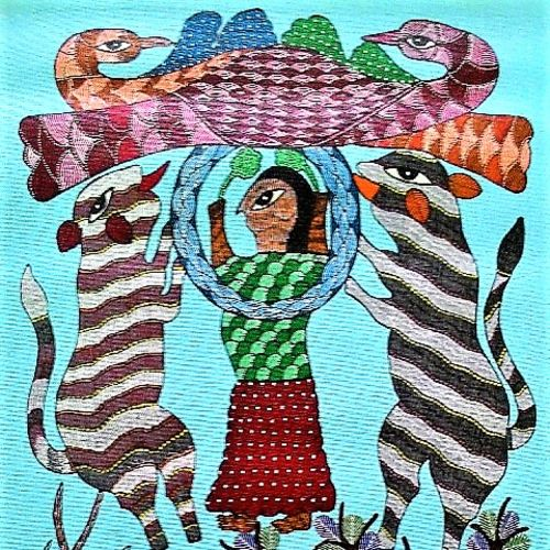 animal worship , 18 x 30 inch, brajbhushan dhurve,folk art paintings,paintings for office,canvas,acrylic color,18x30inch,GAL010352688
