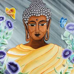 buddha, 16 x 14 inch, nidhi choudhari,16x14inch,canvas,paintings,abstract paintings,buddha paintings,paintings for living room,paintings for hotel,acrylic color,GAL01583526882