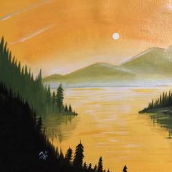 sunset in a river , 18 x 14 inch, nidhi choudhari,18x14inch,canvas,paintings,landscape paintings,nature paintings | scenery paintings,acrylic color,GAL01583526884