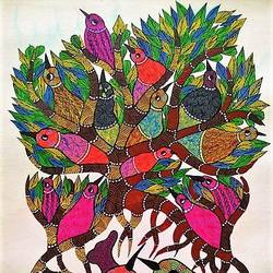 love bird , 30 x 18 inch, brajbhushan dhurve,folk art paintings,paintings for office,canvas,acrylic color,30x18inch,GAL010352689