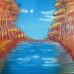 lake, 10 x 12 inch, nidhi choudhari,10x12inch,canvas,paintings,nature paintings | scenery paintings,acrylic color,GAL01583526891