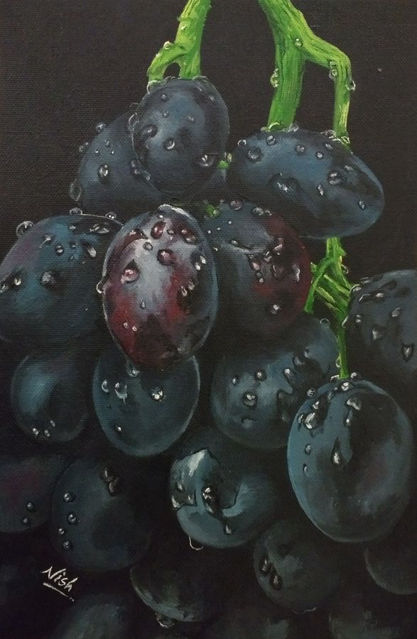 Reallistic grapes oil on canvas