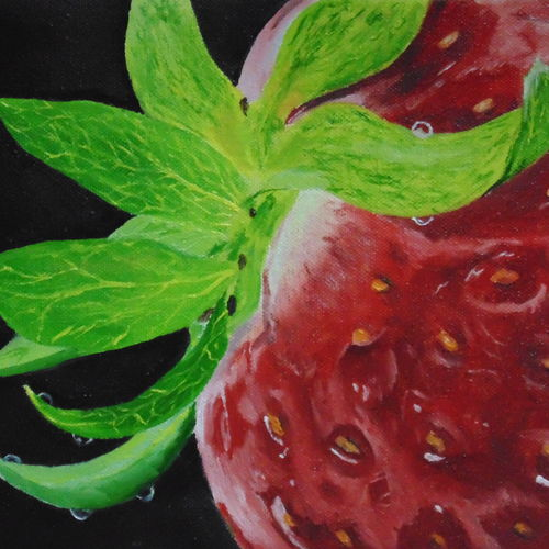 realistic strawberry oil painting on canvas, 12 x 16 inch, nishmitha  u r,12x16inch,canvas,paintings,still life paintings,paintings for dining room,paintings for living room,paintings for bedroom,paintings for office,paintings for hotel,paintings for kitchen,oil color,GAL01606926895