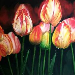 dew drops on tulips, 22 x 18 inch, nishmitha  u r,22x18inch,canvas,flower paintings,still life paintings,paintings for living room,paintings for bedroom,paintings for office,paintings for kids room,paintings for living room,paintings for bedroom,paintings for office,paintings for kids room,oil color,GAL01606926899