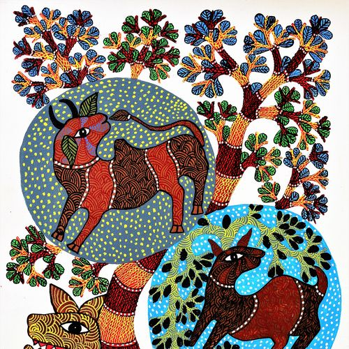 wild beauty , 30 x 18 inch, brajbhushan dhurve,folk art paintings,paintings for living room,canvas,acrylic color,30x18inch,GAL010352690
