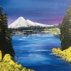 mountain lake, 18 x 14 inch, nidhi choudhari,18x14inch,canvas,paintings,landscape paintings,acrylic color,GAL01583526900