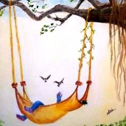 krishna sleeping on swing, 12 x 16 inch, nishmitha  u r,12x16inch,canvas,paintings,religious paintings,radha krishna paintings,paintings for living room,paintings for bedroom,paintings for kids room,paintings for hotel,paintings for hospital,oil color,GAL01606926901
