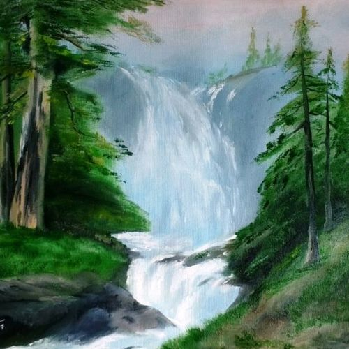 waterfalls in a forest, 22 x 18 inch, nishmitha  u r,22x18inch,canvas,paintings,landscape paintings,paintings for dining room,paintings for living room,paintings for bedroom,paintings for office,paintings for hotel,paintings for hospital,oil color,GAL01606926903