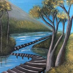 river path, 12 x 10 inch, nidhi choudhari,12x10inch,canvas,paintings,landscape paintings,acrylic color,GAL01583526904
