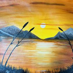 sunset , 18 x 14 inch, nidhi choudhari,18x14inch,canvas,paintings,landscape paintings,acrylic color,GAL01583526906