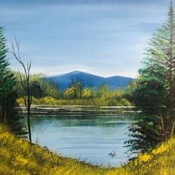 mountain lake , 18 x 14 inch, nidhi choudhari,18x14inch,canvas,paintings,landscape paintings,acrylic color,GAL01583526907