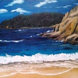 seascape oil painting on canvas, 16 x 12 inch, nishmitha  u r,16x12inch,canvas,paintings,landscape paintings,paintings for dining room,paintings for living room,paintings for bedroom,paintings for office,paintings for hotel,oil color,GAL01606926908