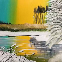 snowy lake, 18 x 14 inch, nidhi choudhari,18x14inch,canvas,paintings,landscape paintings,surrealism paintings,acrylic color,GAL01583526909