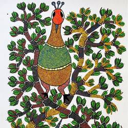 peacock playing , 30 x 18 inch, brajbhushan dhurve,folk art paintings,paintings for living room,canvas,fabric,30x18inch,GAL010352691