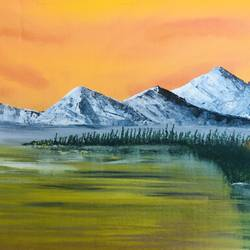 mountain lake, 18 x 14 inch, nidhi choudhari,18x14inch,canvas,paintings,landscape paintings,acrylic color,GAL01583526911