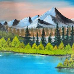 mountain lake, 18 x 14 inch, nidhi choudhari,18x14inch,canvas,paintings,landscape paintings,acrylic color,GAL01583526912