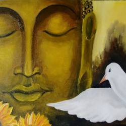 budha oil painting on canvas, 16 x 12 inch, nishmitha  u r,16x12inch,canvas,paintings,buddha paintings,paintings for dining room,paintings for living room,paintings for bedroom,oil color,GAL01606926914