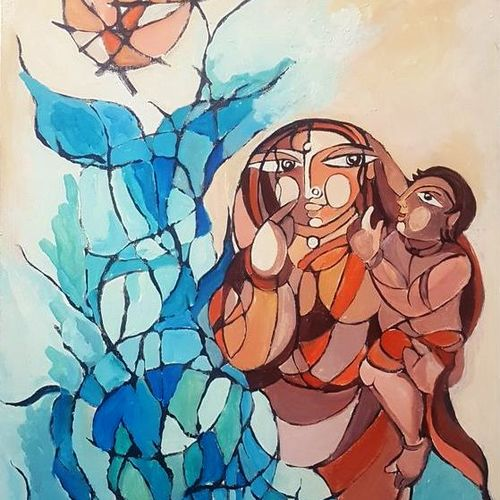 mother and child, 30 x 48 inch, indrani sadhukhan,30x48inch,canvas,paintings,figurative paintings,acrylic color,GAL01606726916