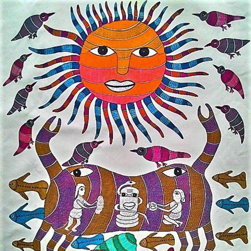 sea god , 37 x 28 inch, brajbhushan dhurve,folk art paintings,paintings for living room,canvas,acrylic color,37x28inch,GAL010352692