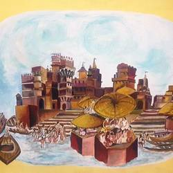 kashi-ghat, 40 x 38 inch, indrani sadhukhan,40x38inch,canvas,paintings,cityscape paintings,landscape paintings,paintings for dining room,paintings for living room,paintings for bedroom,paintings for office,paintings for bathroom,paintings for hotel,paintings for hospital,acrylic color,GAL01606726922