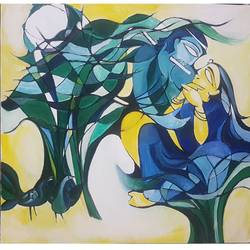 melodious rhythm, 36 x 34 inch, indrani sadhukhan,36x34inch,canvas,paintings,figurative paintings,religious paintings,love paintings,paintings for dining room,paintings for living room,paintings for bedroom,paintings for hotel,acrylic color,GAL01606726923
