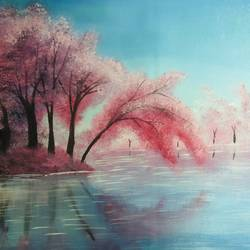 cherry blossom, 16 x 12 inch, nidhi choudhari,16x12inch,canvas,paintings,landscape paintings,nature paintings | scenery paintings,surrealism paintings,paintings for living room,paintings for hotel,acrylic color,GAL01583526928