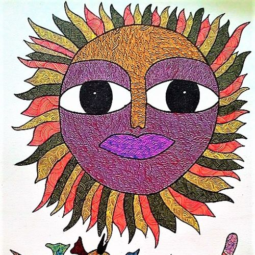 god of sun , 30 x 18 inch, brajbhushan dhurve,folk art paintings,paintings for office,canvas,acrylic color,30x18inch,GAL010352693