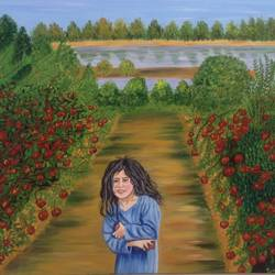 painting apple lover, 18 x 24 inch, promila  kaul,18x24inch,canvas,paintings,landscape paintings,acrylic color,GAL01596826930