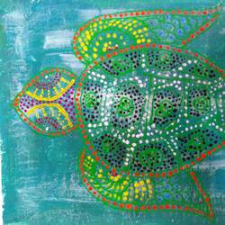 turtle art, 16 x 12 inch, minakhi choudhury,16x12inch,canvas,paintings,nature paintings | scenery paintings,animal paintings,paintings for living room,paintings for office,acrylic color,mixed media,GAL01441426933