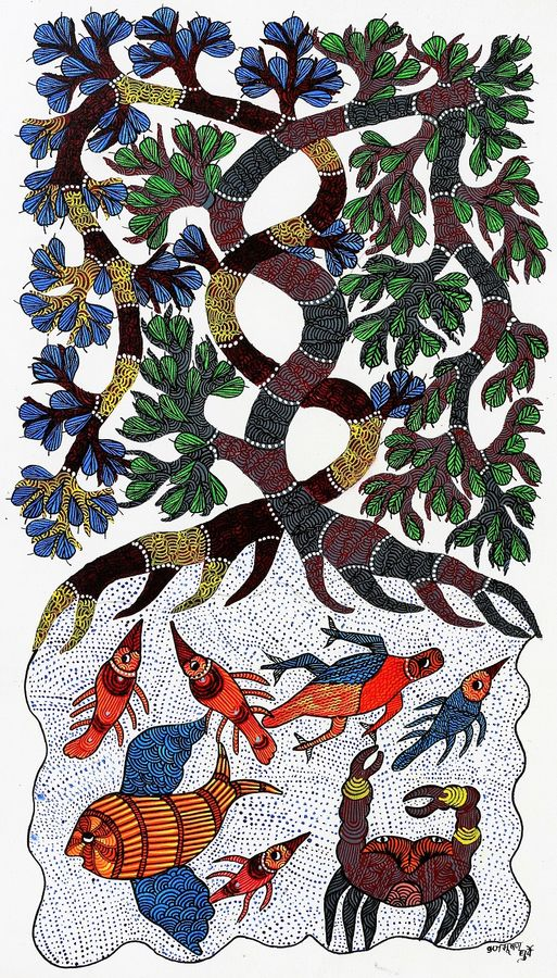 power of nature , 30 x 18 inch, brajbhushan dhurve,folk art paintings,paintings for office,canvas,acrylic color,30x18inch,GAL010352694