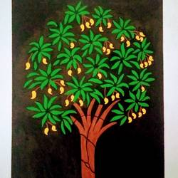 mango tree, 11 x 15 inch, geeta kwatra,11x15inch,handmade paper,paintings,abstract paintings,still life paintings,nature paintings | scenery paintings,paintings for living room,paintings for office,paintings for hotel,acrylic color,GAL0899126946