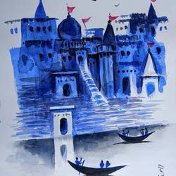 varanasi ghat, 8 x 11 inch, girish chandra vidyaratna,8x11inch,paper,paintings,religious paintings,paintings for living room,watercolor,GAL03626948