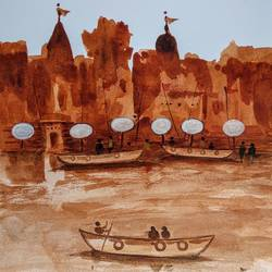 varanasi ghat, 8 x 11 inch, girish chandra vidyaratna,8x11inch,paper,paintings,religious paintings,paintings for living room,watercolor,GAL03626950