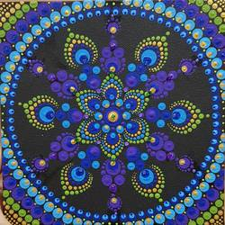 floral dot mandala , 8 x 8 inch, suvarna gaonkar,8x8inch,canvas,paintings,abstract paintings,acrylic color,GAL01253226951