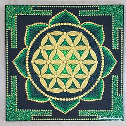flower of life mandala , 12 x 12 inch, suvarna gaonkar,12x12inch,canvas,paintings,religious paintings,paintings for living room,acrylic color,GAL01253226953