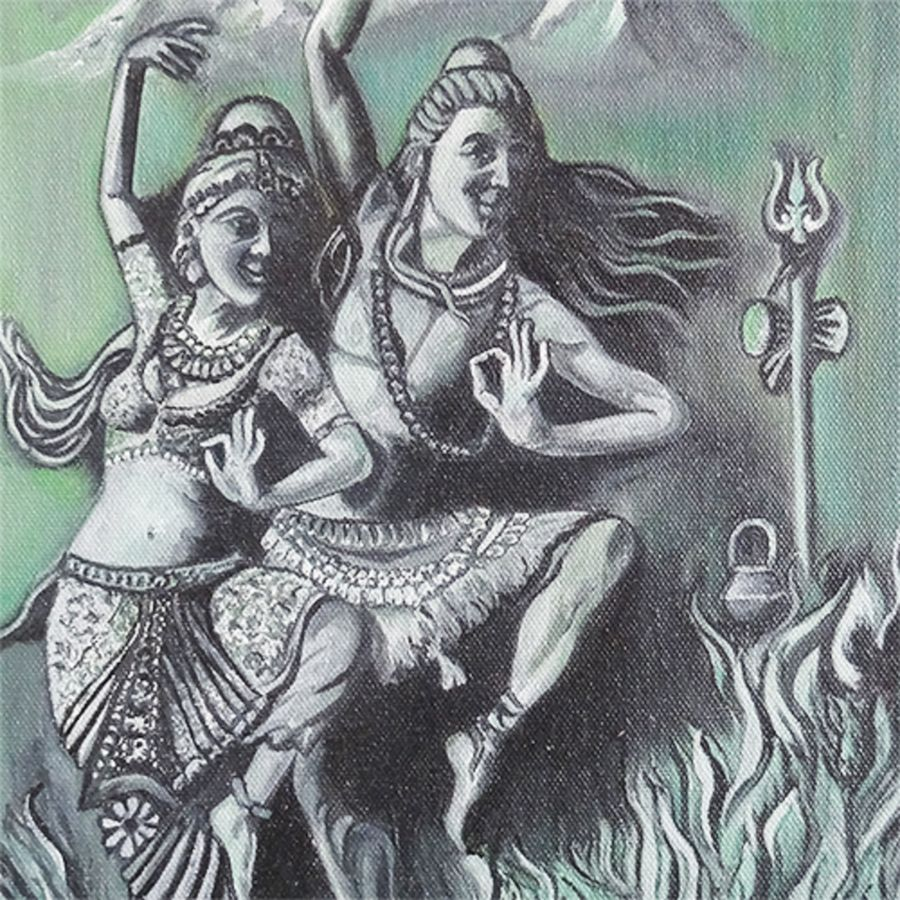 shivaparvathi dance, 18 x 16 inch, vgo cart,18x16inch,canvas,paintings,religious paintings,oil color,GAL01132726954