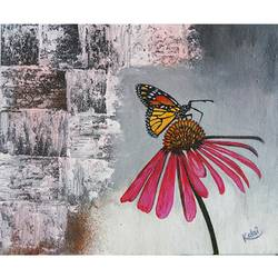 butterfly sitting on flower, 10 x 12 inch, vgo cart,10x12inch,canvas,paintings,nature paintings   scenery paintings,acrylic color,GAL01132726957