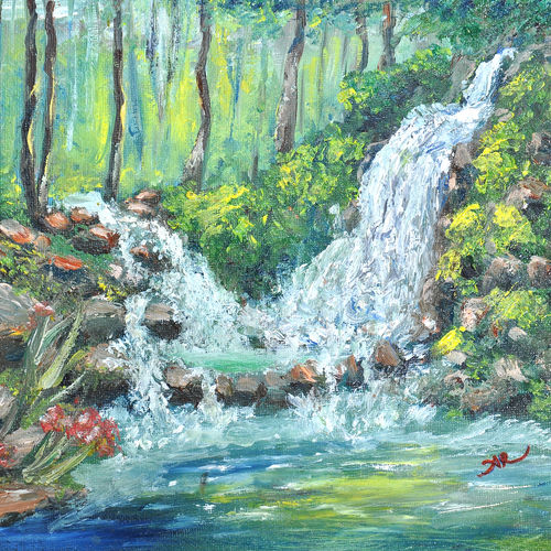 forest fall, 10 x 8 inch, aneesa rani,landscape paintings,paintings for living room,water fountain paintings,water fountain paintings,canvas,oil,10x8inch,GAL010682696